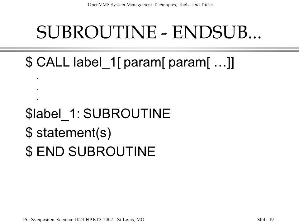 SUBROUTINE - ENDSUB... $ CALL label_1[ param[ param[ …]]